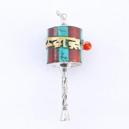 【チベット密教仏具】マニ車/梵字/シルバー/エスニックペンダント