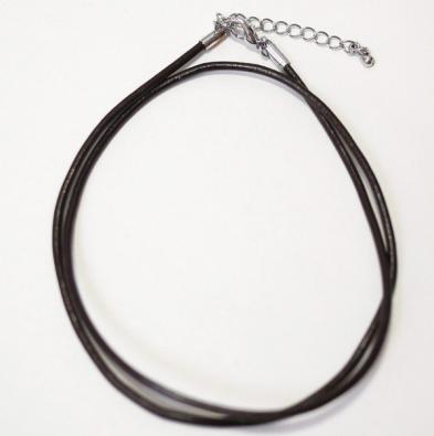 【レザーコード】革ひも 丸型 ダークブラウン 直径2mm 長さ44cm