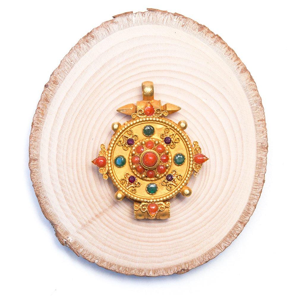【チベット密教仏具】曼荼羅デザインのガウペンダント(金メッキ仕様)Type.1