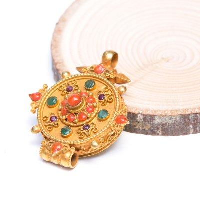 【チベット密教仏具】ガウ(Ghau)/曼荼羅/金装飾/シルバー/ペンダント