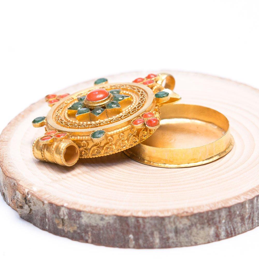 画像2:【チベット密教仏具】ガウ(Ghau)/曼荼羅/金装飾/シルバー/アンティークペンダント