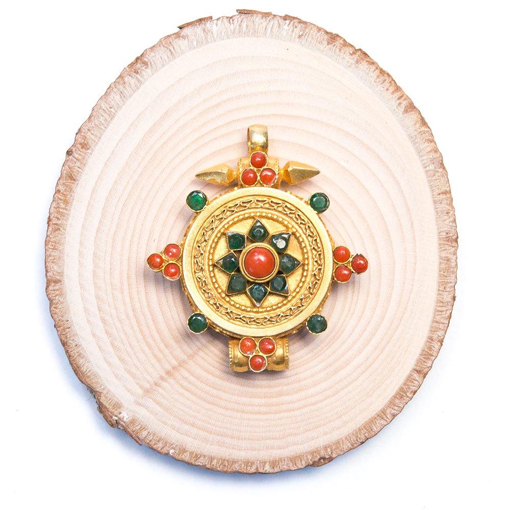 画像4:【チベット密教仏具】ガウ(Ghau)/曼荼羅/金装飾/シルバー/アンティークペンダント
