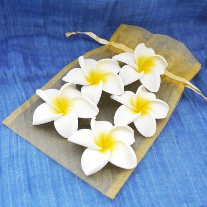 フランジパニ(プルメリア)5個セット/ホワイト/造花/アジアン/バリ雑貨