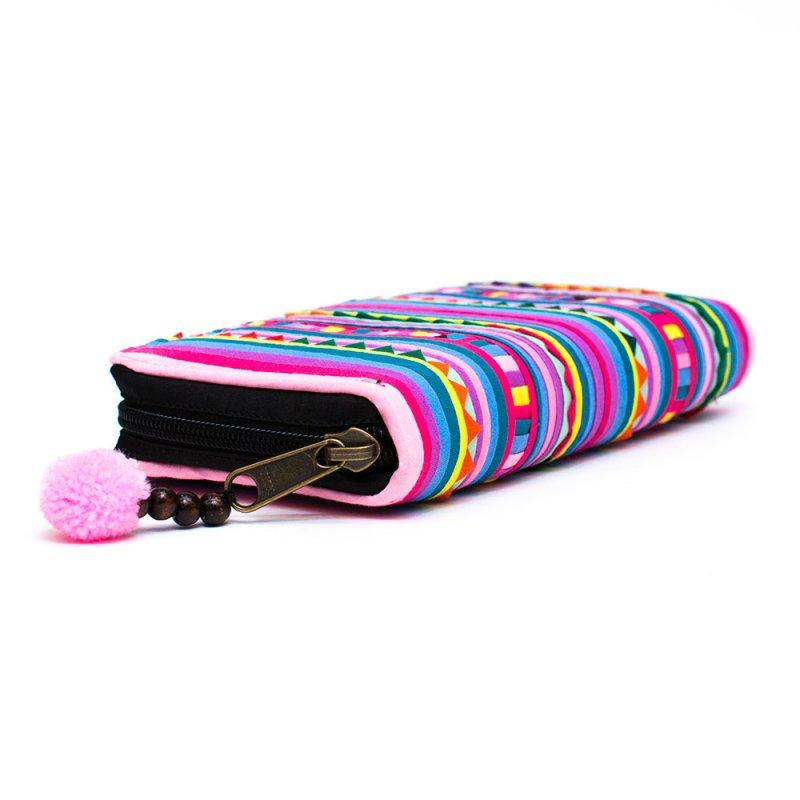 画像2:リス族 カラフル刺繍のがま口長財布(パープル)