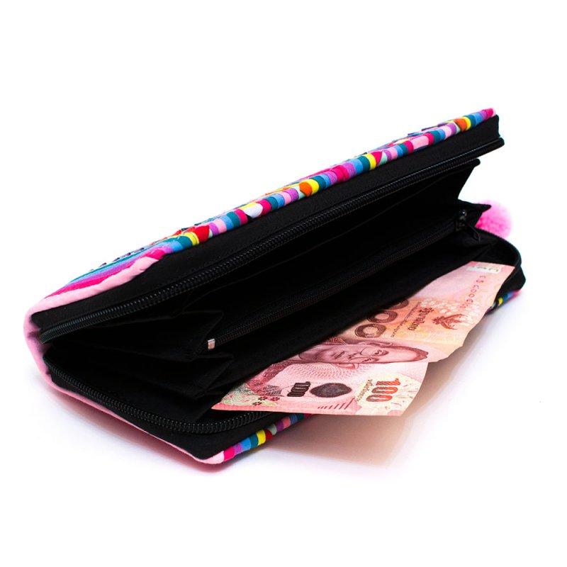 リス族 カラフル刺繍のラウンドファスナー長財布(ピンク)