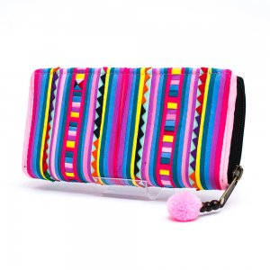 リス族 カラフル刺繍のがま口長財布(パープル)