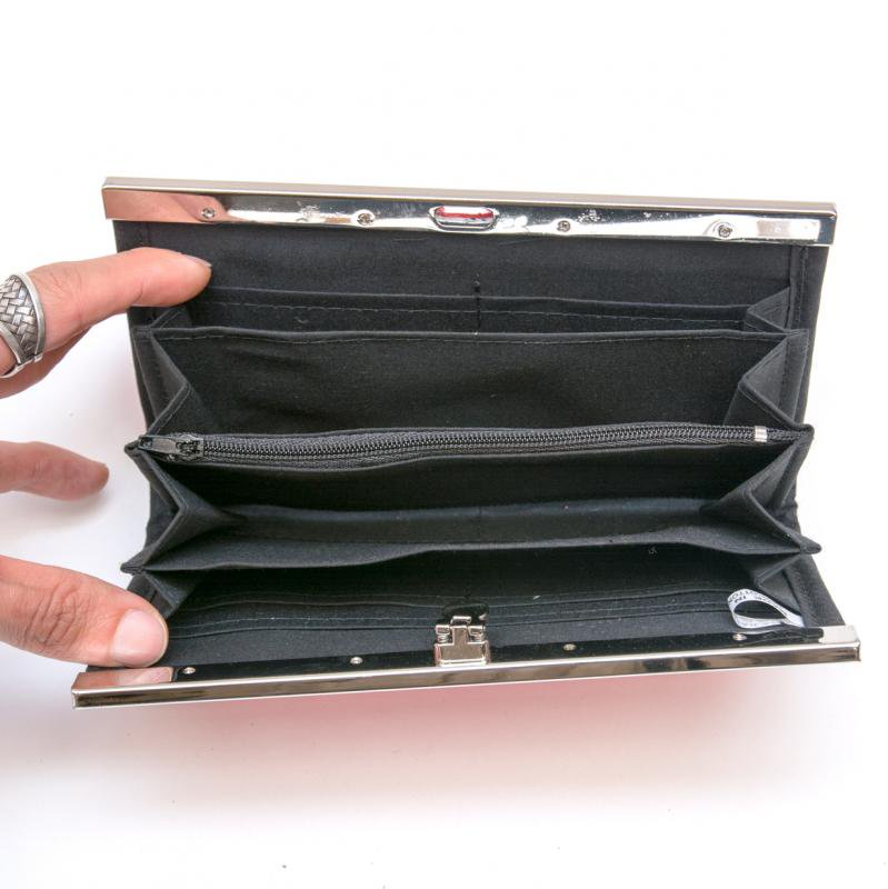 画像3:リス族 パッチワーク刺繍がま口長財布(ピンク)