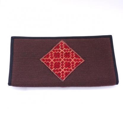 モン族刺繍飾り長財布(茶)/二つ折りタイプ/タイ雑貨