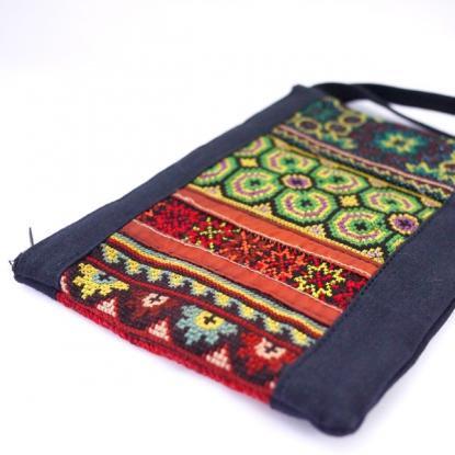 画像2:タイ少数民族・モン族【渋い持ち手付き大人ポーチ】タイ民族雑貨/手刺繍