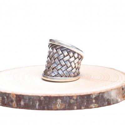 【カレン族シルバー リング・指輪】網目が美しい幅広リング(Karen Silver)