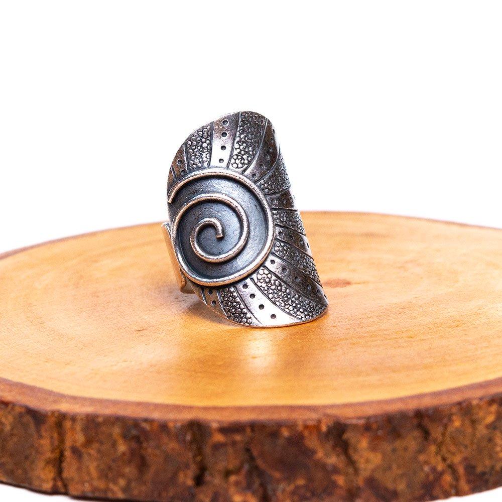 【カレン族シルバー リング・指輪】渦巻き文様のヒルトライブリング(hill tribe silver)