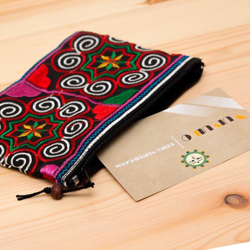 画像2:【モン族雑貨】刺繍ポーチS(赤&白)/小物入れ/タイ山岳民族