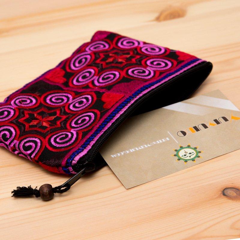 画像2:【モン族雑貨】刺繍ポーチS(ピンク)/小物入れ/タイ山岳民族