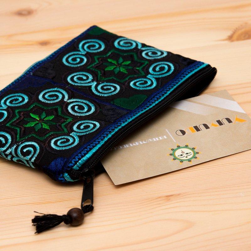 画像2:【モン族雑貨】刺繍ポーチS(青)/小物入れ/タイ山岳民族
