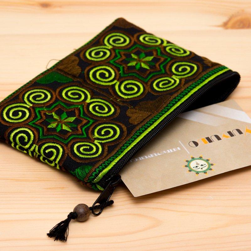 画像2:【モン族雑貨】刺繍ポーチS(若草)/小物入れ/タイ山岳民族