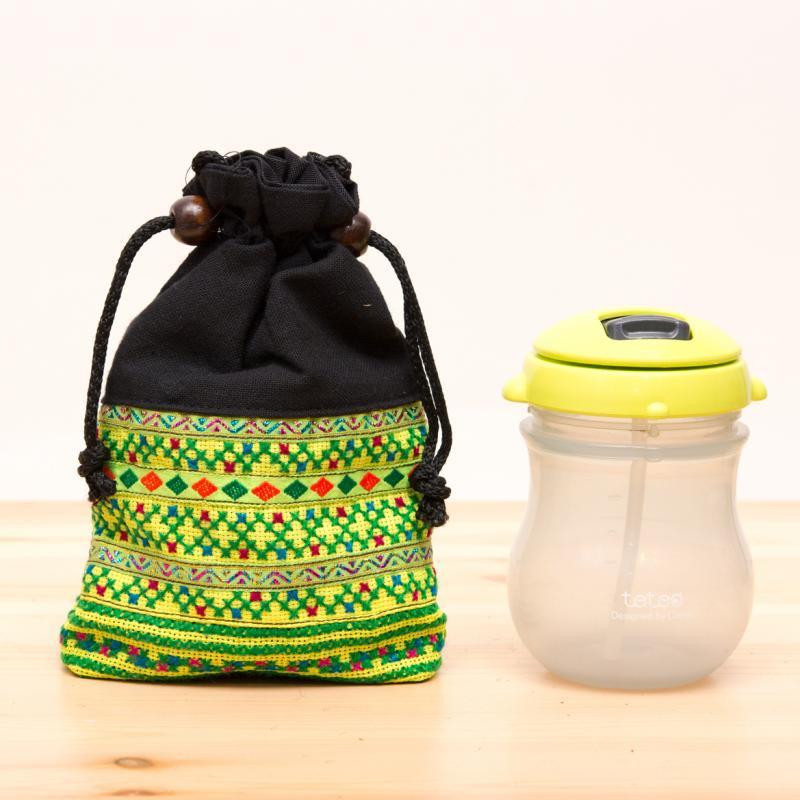 画像4:【モン族雑貨】民族刺繍入り巾着ショルダーポーチ(黄)/タイ山岳少数民族