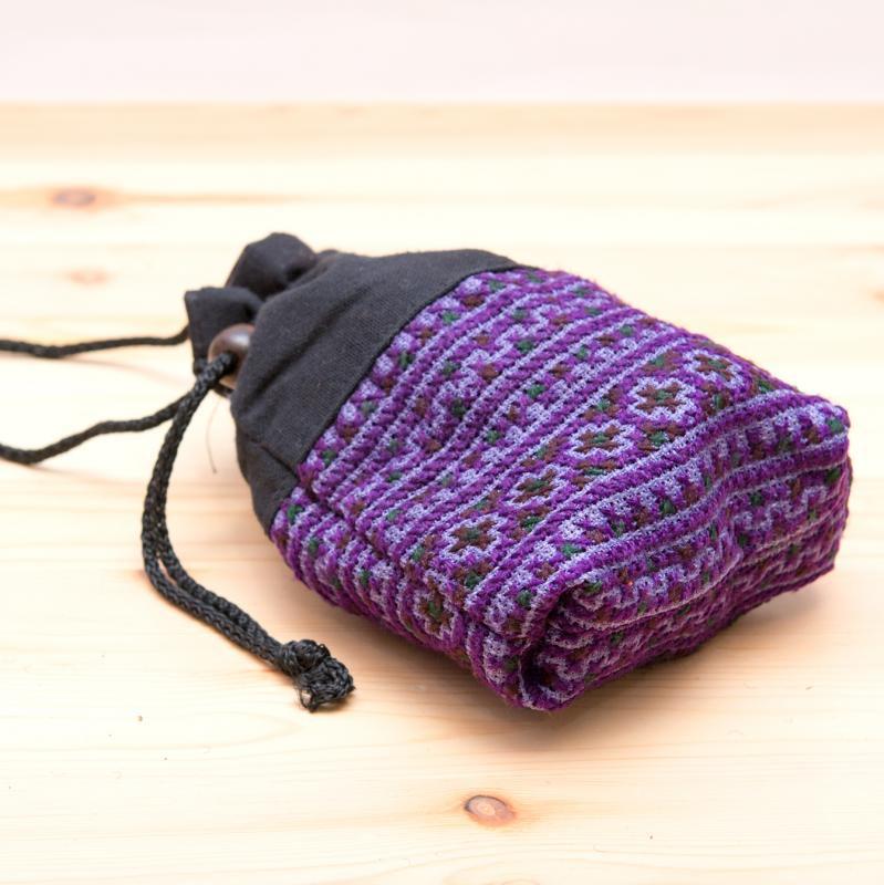 画像3:【モン族雑貨】民族刺繍入り巾着ショルダーポーチ(紫)/タイ山岳少数民族