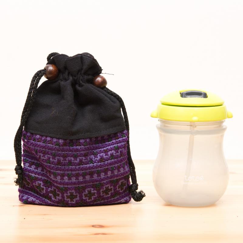 画像4:【モン族雑貨】民族刺繍入り巾着ショルダーポーチ(紫)/タイ山岳少数民族