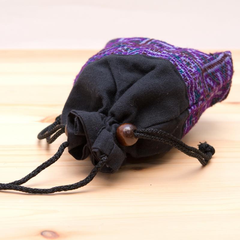 画像3:【モン族雑貨】民族刺繍入り巾着ショルダーポーチ/マグケース/タイ山岳少数民族