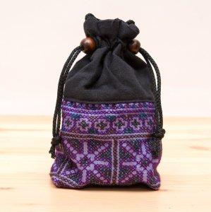 【モン族雑貨】民族刺繍入り巾着ショルダーポーチ/マグケース/タイ山岳少数民族