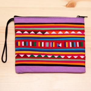 リス族刺繍のモダンなハンドメイドポーチ M-size(ライトパープル)