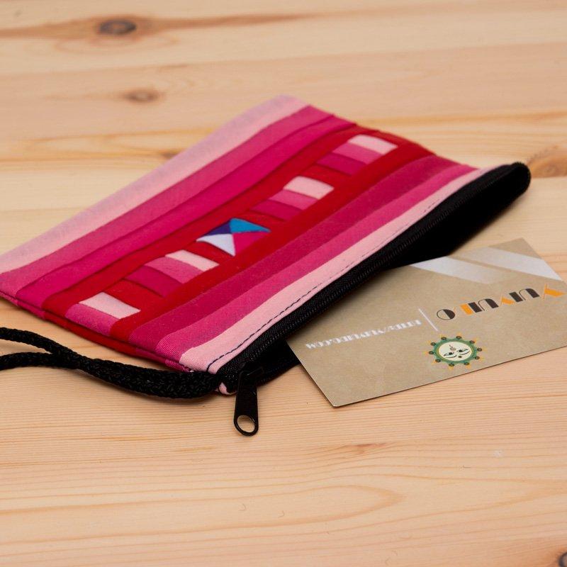 画像2:【リス族雑貨】伝統の重ね縫いポーチS(ピンク)/タイ少数民族雑貨