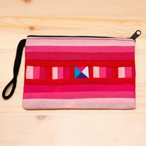 【リス族雑貨】伝統の重ね縫いポーチS(ピンク)/タイ少数民族雑貨