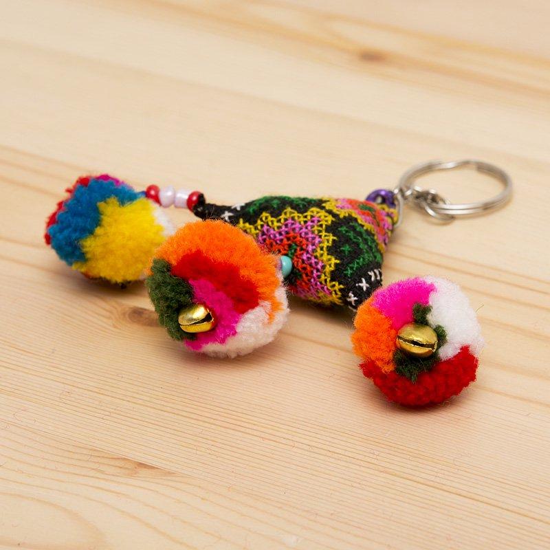 画像2:【タイ 民族雑貨】リス族手作りのキーホルダー/エスニックファッション