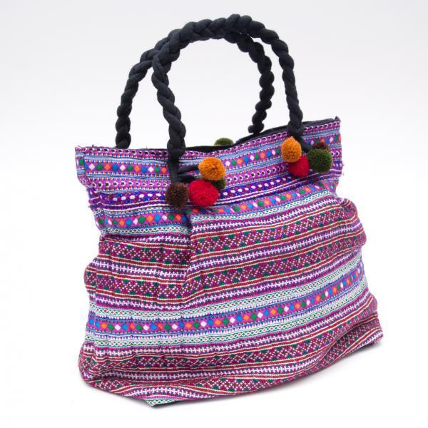 モン族刺繍のポンポン付き手提げバッグ Type.1