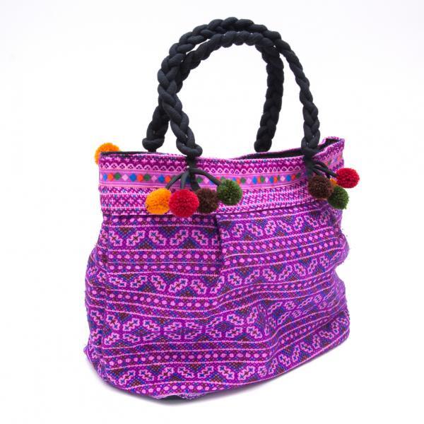 【モン族刺繍の手提げバッグ(紫)】民族古布/タイ民族ファッション