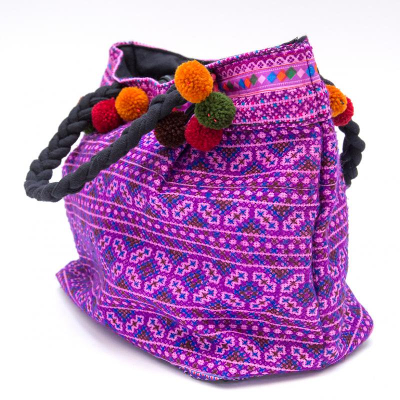 画像2:【モン族刺繍の手提げバッグ(紫)】民族古布/タイ民族ファッション