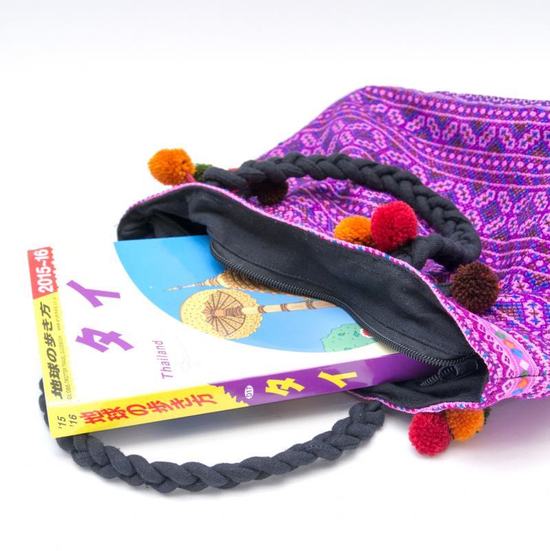 画像3:【モン族刺繍の手提げバッグ(紫)】民族古布/タイ民族ファッション
