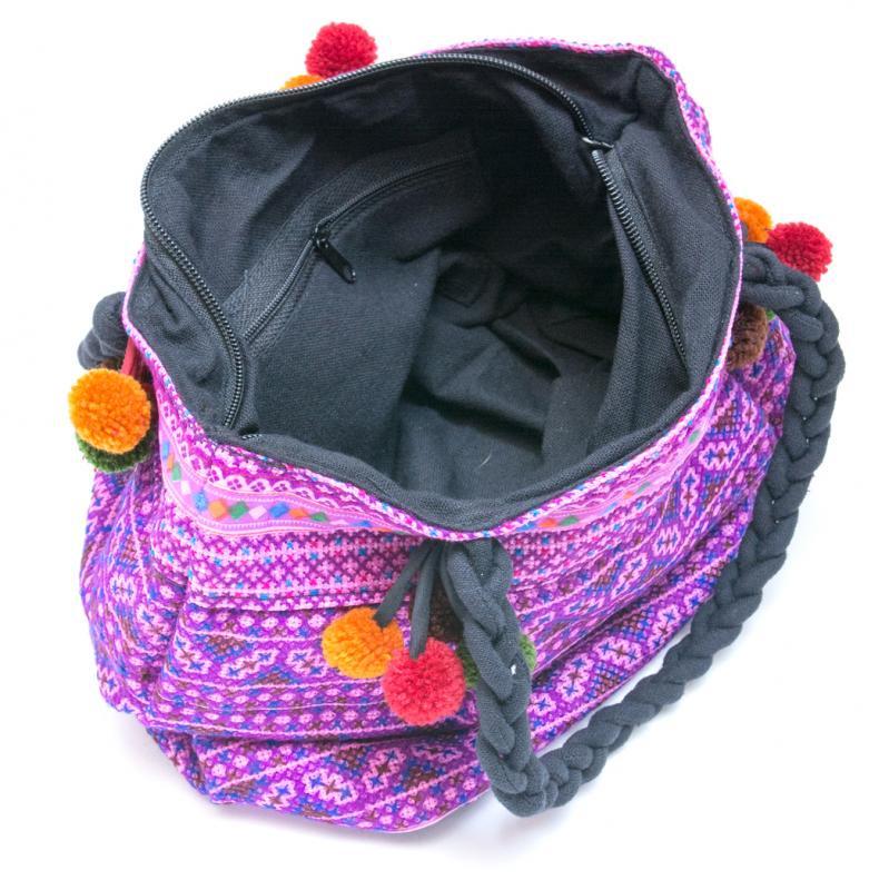 画像4:【モン族刺繍の手提げバッグ(紫)】民族古布/タイ民族ファッション