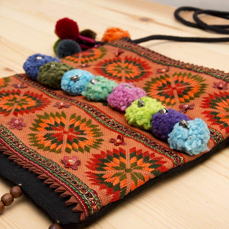 画像2:【モン族バッグ】モン族古布のボンボンポシェット|タイ民族ファッション
