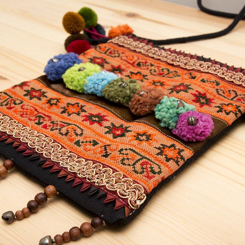 画像2:【モン族バッグ】モン族古布を使用した大人のポシェット|タイ民族ファッション