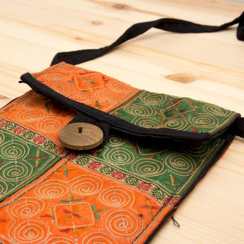 画像2:【モン族バッグ】白モン族の渦巻きポシェット(緑&橙)|タイ民族雑貨
