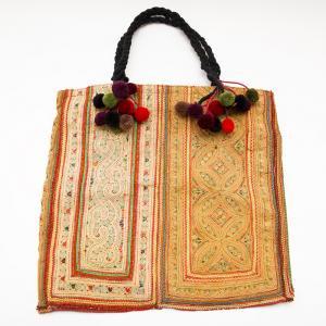 モン族古布のヴィンテージトートバッグ タイ民族雑貨