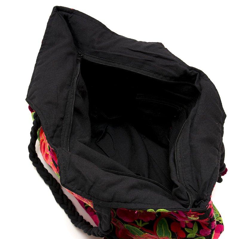 画像4:花モン族の色鮮やかなポンポン付トートバッグ|タイ民族雑貨