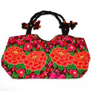 花モン族の色鮮やかなポンポン付トートバッグ タイ民族雑貨