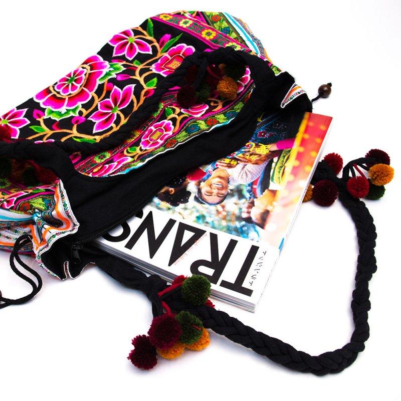 画像2:モン族のポンポン付トートバッグ/エスニック/タイ民族雑貨