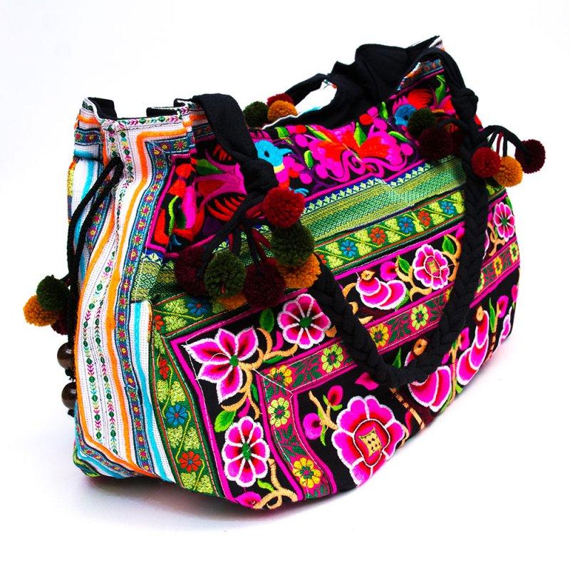 画像3:モン族のポンポン付トートバッグ/エスニック/タイ民族雑貨