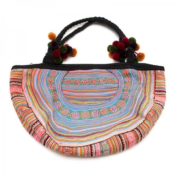 花モン族の半月ショルダーバッグ(ブルー)/タイ民族雑貨