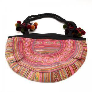 花モン族の半月ショルダーバッグ(ピンク)/タイ民族雑貨