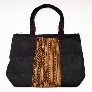 モン族刺繍のヘンプトートバッグ(ブラック)/麻/デザイナーズバッグ