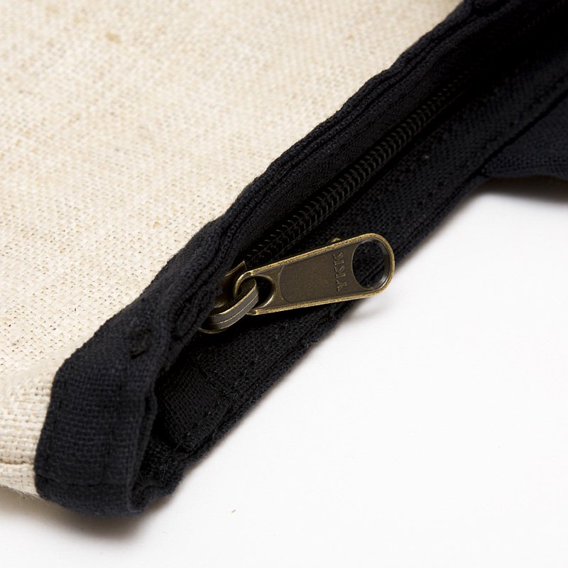 画像2:モン族刺繍のヘンプトートバッグ(ホワイト)/麻/デザイナーズバッグ