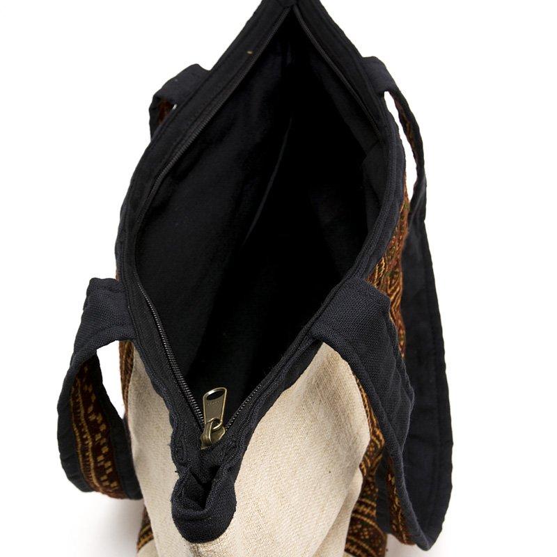 画像3:モン族刺繍のヘンプトートバッグ(ホワイト)/麻/デザイナーズバッグ