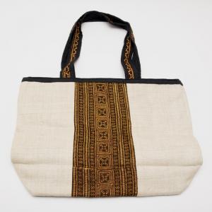モン族刺繍のヘンプトートバッグ(ホワイト)/麻/デザイナーズバッグ