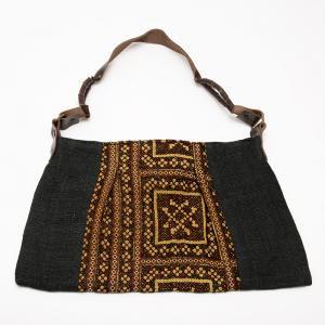 モン族刺繍のヘンプショルダーバッグ(ブラック)/麻/デザイナーズバッグ