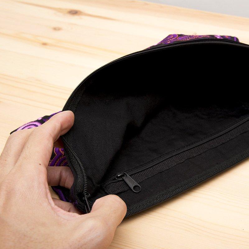 画像3:モン族の大きめ刺繍ポーチ(ピンク)/渦巻き/エスニック/タイ民族雑貨