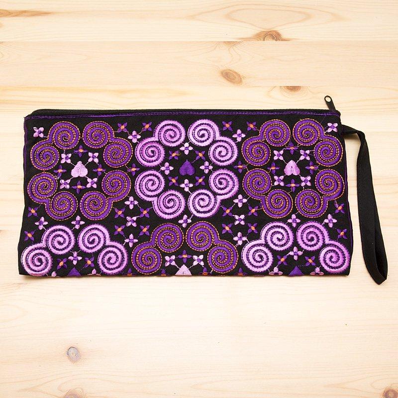 画像4:モン族の大きめ刺繍ポーチ(ピンク)/渦巻き/エスニック/タイ民族雑貨